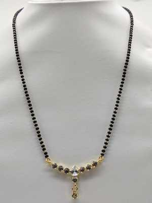 Traditional Ethnic Latest Design Golden 6 Round Stone Pendant Lankan Black Bead Single Chain Necklace Girl