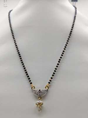 Traditional Ethnic Latest Design Golden stone Pendant jhumki Lankan Black Beads Single Chain Necklace Girl
