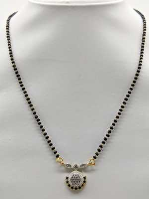 Traditional Ethnic Latest Design Round Vati Pendant Black stone Beads Single Chain Necklace For Girls