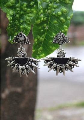 German Silver Black Earring