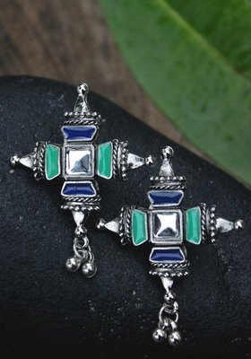 German Silver Green And Blue Earring