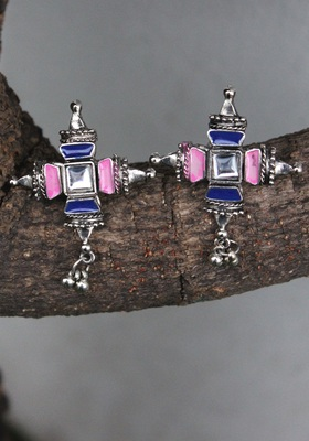 German Silver Pink And Blue Earring
