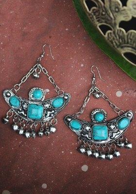 German Silver Turquoise long Earring
