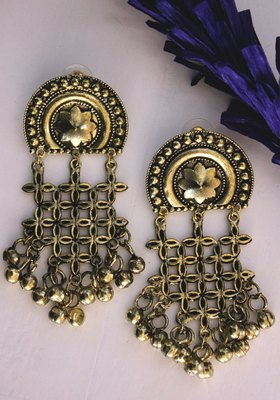 Gold Plated Ghungroo Long Earring