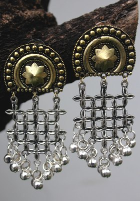 German Silver And Gold Two Tone Long Earring