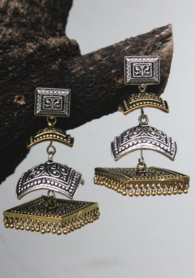German Silver And Gold Two Tone Long Jhumka
