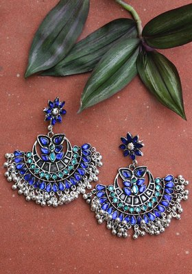 German Silver Blue Crystal Chandbali Earring