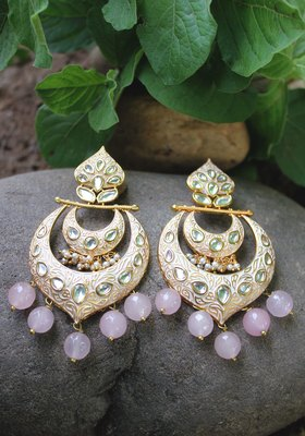 Gold Plated Meenakari Pink Onyx Chandbali Earring
