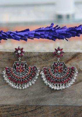 German Silver Pink And Orange Crystal Chandbali Earring
