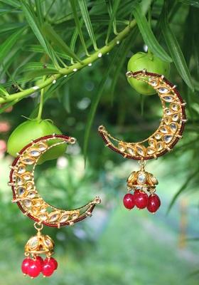 Gold Plated Kundan Red Onyx Small Jhumki Chandbali Earring