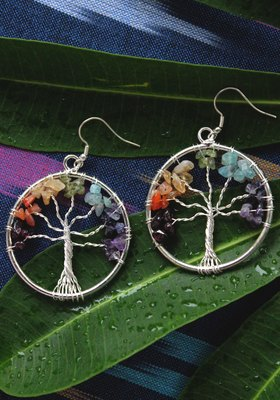 German Silver Multicoloured Beads Round Earring