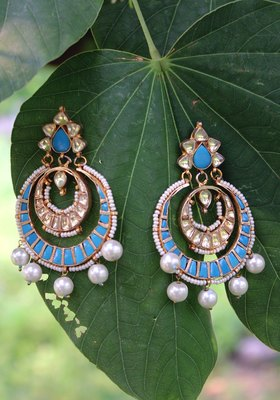 Gold Plated And Turquoise Shell Pearls Chandbali Earring