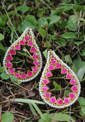Gold Plated Kundan Polki Pink Earring