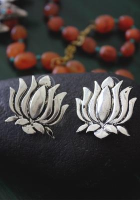 German Silver Lotus Earring