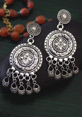 German Silver Oxidized Long Earring