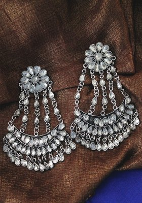German Silver Crystal Chandbali Earring