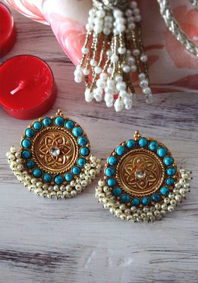 Gold Plated Temple work Turquoise And Shell Pearls Earring