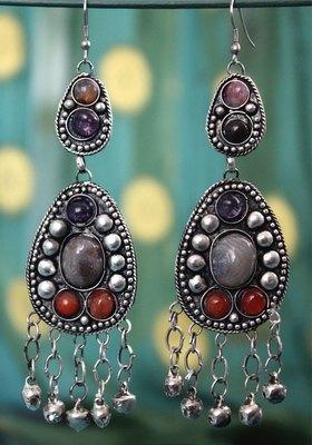German Silver Orange Stone Oxidized Long Earring