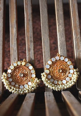 Gold Plated Temple Work White Shell Pearls Earring