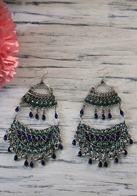 German Silver Blue Crystal Chandbali Earring