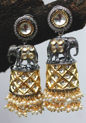 Gold Plated Temple Work Shell Pearls Elephant Long Earring