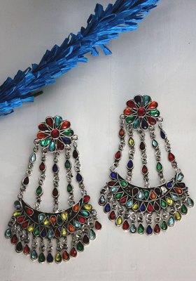 German Silver Multicoloured Crystals Chandbali Earring