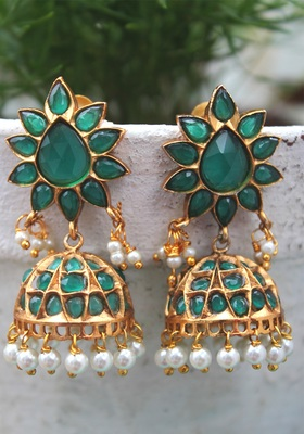Gold Plated Temple Work Green Crystal Shell Pearls Earring