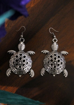 German Silver Oxidized Turtle Earring