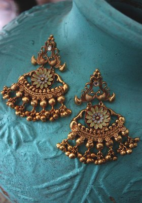 Gold Plated Temple Work Ghungroo Chandbali Earrings