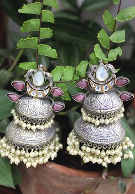 Silver Plated Oxidized Shell Pearls Long Jhumka