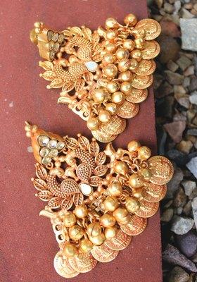 Gold Plated Temple Work Chandbali Earrings