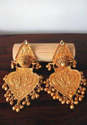 Gold Plated Temple Work Ghungroo Chandbali Earrings