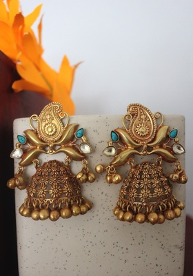 Gold Plated Temple Work Ghungroo Earrings