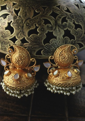Gold Plated Temple Work White Shell Pearls Jhumka