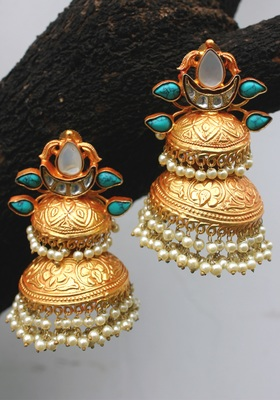 Gold Plated Temple Work Turquoise And Shell Pearls Long Jhumka