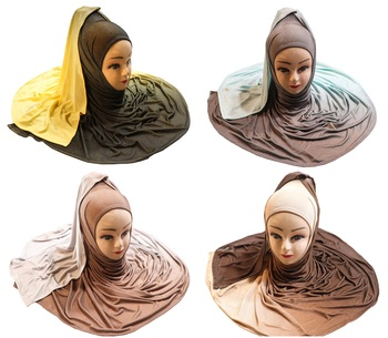 Justkartit Women's Casual Wear 2 Shade Jersey Stretchable Material Scarf Hijab Dupatta (Pack Of 4)