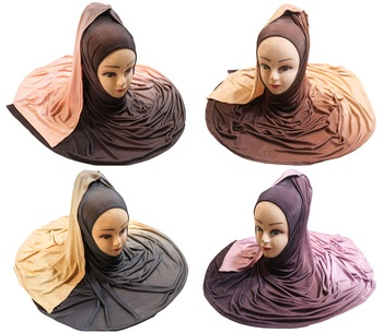 Justkartit Women's Occasion Wear 2 Shade Jersey Stretchable Hijab Scarf Dupatta (Pack Of 4)