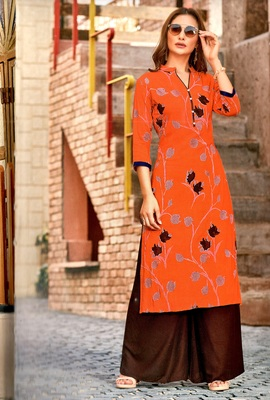 orange rayon long kurtis