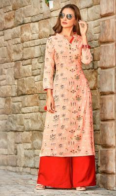 Pink Rayon Long Kurtis