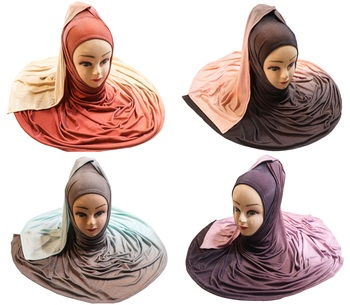 Justkartit Women's 2 Shade Jersey Stretchable Material Hijab Scarf Dupatta (Pack Of 4)