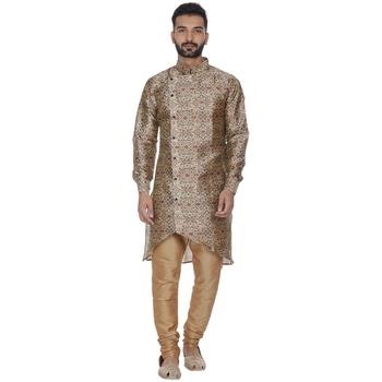 Brown printed brocade silk kurta-pajama