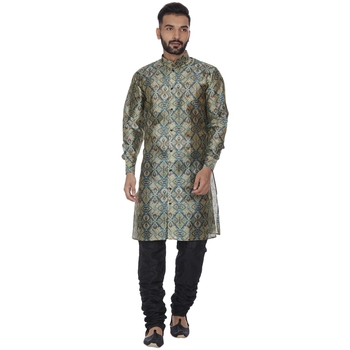 Green printed brocade silk kurta-pajama