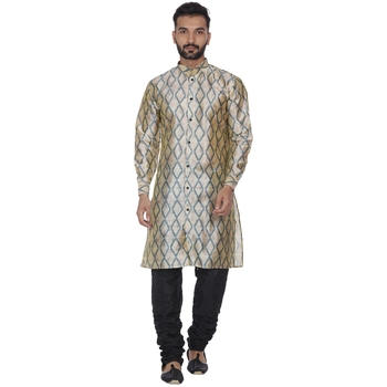 Beige printed brocade silk kurta-pajama