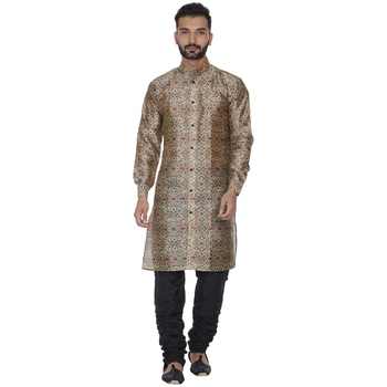 Brown Printed Brocade Silk Kurta Pajama