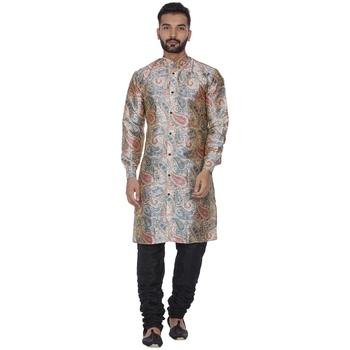 Beige Printed Brocade Silk Kurta Pajama