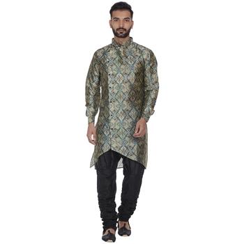 Green printed brocade silk kurta-pajama