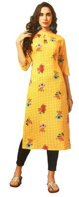 Yellow Rayon Long Kurtis