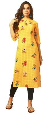 yellow rayon long kurtis