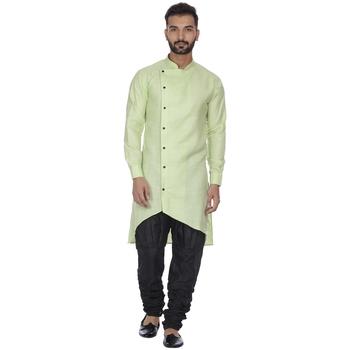 Green plain cotton kurta-pajama