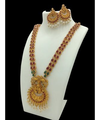Gold Plated Studded Temple Jewellery Necklace Sets